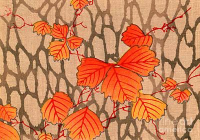 Japanese Woodblock Print Of Autumn Leaves Art Print