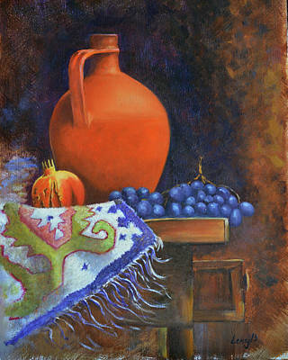 Jar Painting - Jar And Pomegranate by Rok Lekaj