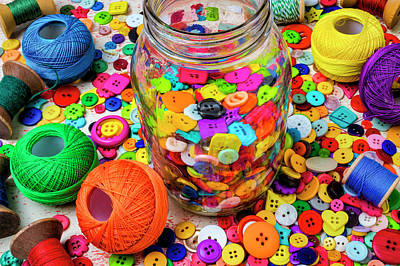Photograph - Jar Of Buttons Still Life by Garry Gay
