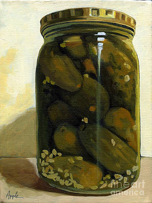 Realism Photograph - Jar Of Garlic Dill Pickles - Still Life Oil Painting by Linda Apple