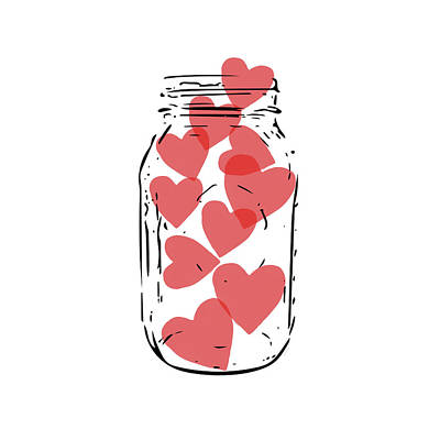 Digital Art - Jar Of Hearts- Art By Linda Woods by Linda Woods