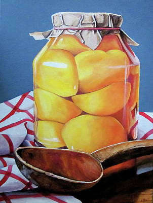 Canned Fruit Painting - Jar Of Peaches-canning Day by Lillian Bell