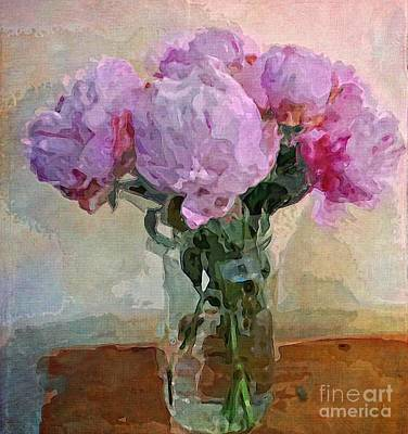 Art Print featuring the digital art Jar Of Peonies by Alexis Rotella