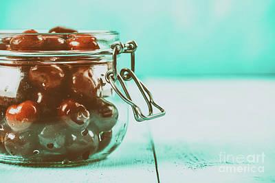 Jar Of Red Fresh Cherries Art Print