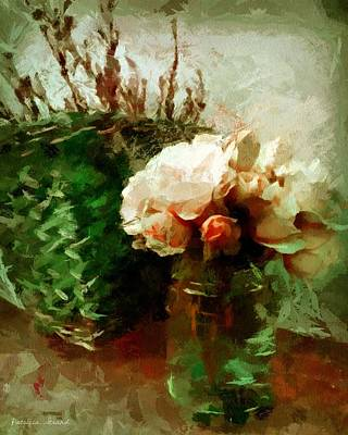 Jar Of Roses With Lavender Art Print