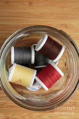 Bamboo Photograph - Jar Of Thread Spools by Edward Fielding