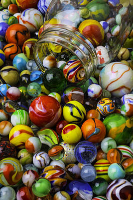 Pour Photograph - Jar Pouring Out Glass Marbles by Garry Gay