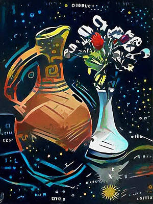 Wine Country Digital Art - Jar With Wine And Flowers by Yury Malkov