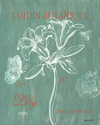 Lilies Wall Art - Drawing - Jardin Botanique Aqua by Debbie DeWitt