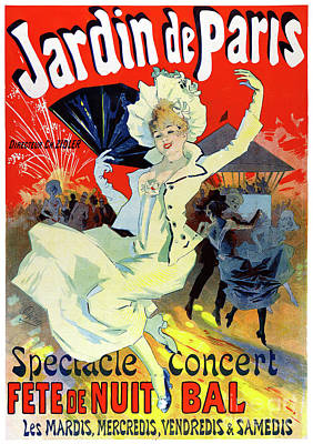 Mixed Media - Jardin De Paris France Vintage Poster Restored by Carsten Reisinger