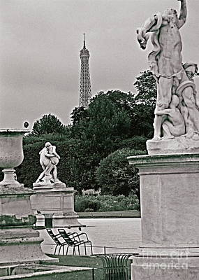 Photograph - Jardin Des Tuileries, Architecture, Sculpture Paris France Fine Art Photograph Black And White Lands by Tim Hovde