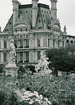 Photograph - Jardin Des Tuileries, Architecture, Sculpture Paris France Fine Art Photograph Black And White by Tim Hovde
