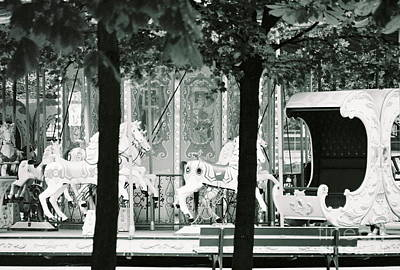 Photograph - Jardin Des Tuileries, Carousel, Paris France Inverted Glass Pyramid Fine Art Photograph Black And Wh by Tim Hovde