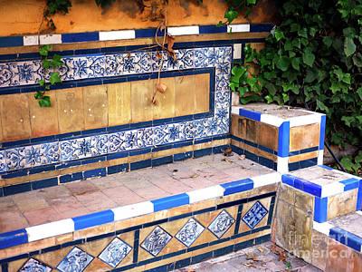 Photograph - Jardines De Murillo Tile Bench by John Rizzuto