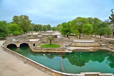 Jardins De La Fontaine Nimes1 Art Print by Scott Carruthers