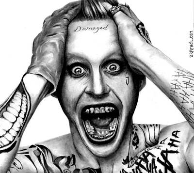 Drawing - Jared Leto As The Joker by Rick Fortson