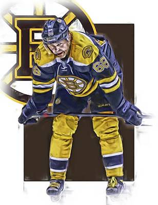 Mixed Media - Jaromir Jagr Boston Bruins Oil Art Series 4 by Joe Hamilton