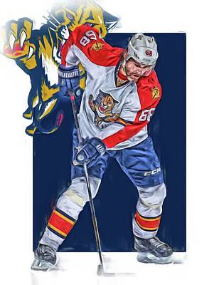 Mixed Media - Jaromir Jagr Florida Panthers Oil Art Series 3 by Joe Hamilton