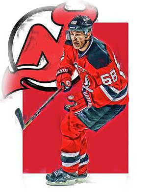 Mixed Media - Jaromir Jagr New Jersey Devils Oil Art Series 1 by Joe Hamilton
