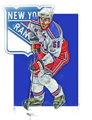 Mixed Media - Jaromir Jagr New York Rangers Oil Art Series 5 by Joe Hamilton