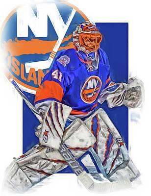 Jaroslav Halak New York Islanders Oil Art Art Print