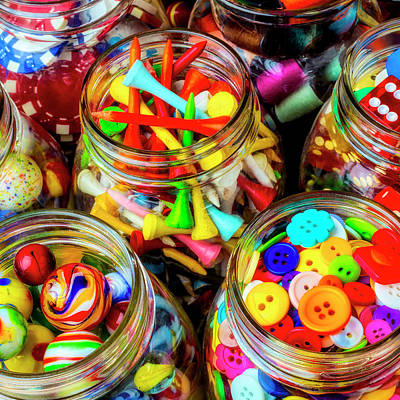 Photograph - Jars Full Of Colorful Objects by Garry Gay