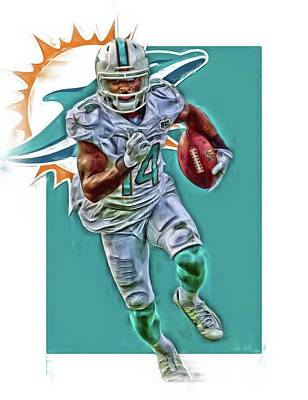 Team Mixed Media - Jarvis Landry Miami Dolphins Oil Art by Joe Hamilton