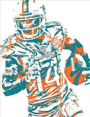 Dolphin Mixed Media - Jarvis Landry Miami Dolphins Pixel Art 10 by Joe Hamilton