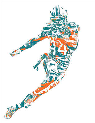 Mixed Media - Jarvis Landry Miami Dolphins Pixel Art 11 by Joe Hamilton