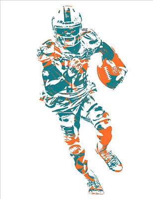 Mixed Media - Jarvis Landry Miami Dolphins Pixel Art 12 by Joe Hamilton