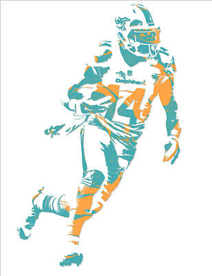 Dolphin Mixed Media - Jarvis Landry Miami Dolphins Pixel Art 5 by Joe Hamilton
