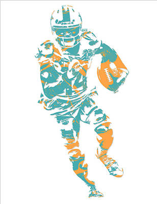 Dolphin Mixed Media - Jarvis Landry Miami Dolphins Pixel Art 7 by Joe Hamilton
