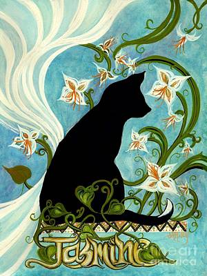 Painting - Jasmine On My Mind - Black Cat In Window by Janine Riley