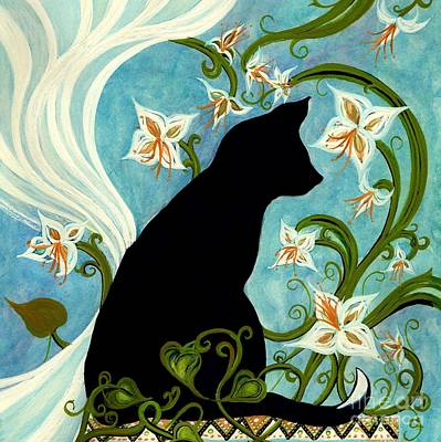 Painting - Jasmine On My Mind - Le Chat Noir by Janine Riley