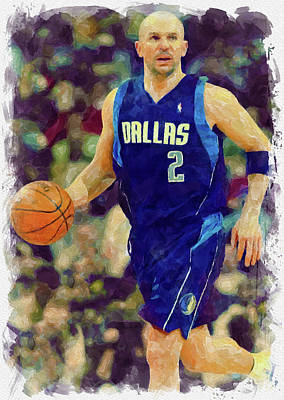 Athletes Royalty-Free and Rights-Managed Images - Jason Kidd Paint by Ricky Barnard