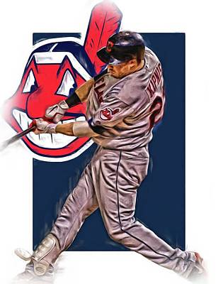 Mixed Media - Jason Kipnis Cleveland Indians Oil Art 2 by Joe Hamilton