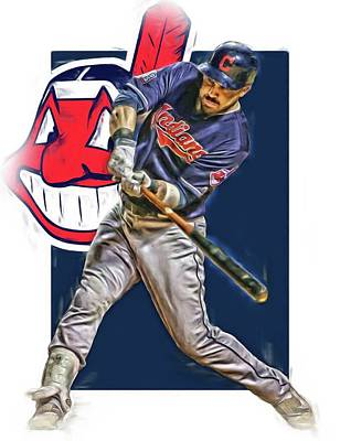 Bat Mixed Media - Jason Kipnis Cleveland Indians Oil Art by Joe Hamilton
