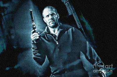 Painting - Jason Statham - Paint Blue by Ian Gledhill