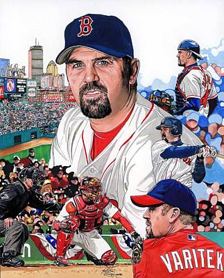 Mlb Boston Red Sox Drawing - Jason Varitek by Neal Portnoy