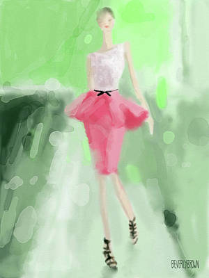 Fashion Drawings Painting - Jason Wu Peplum Skirt Fashion Illustration by Beverly Brown Prints