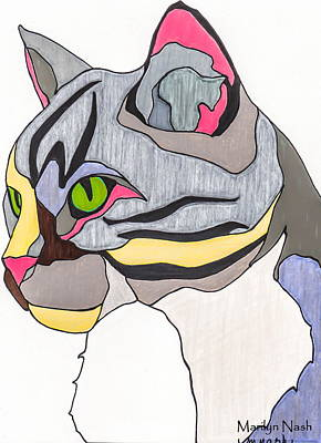 Gray Tabby Drawing - Jasper Cat by Marilyn Nash