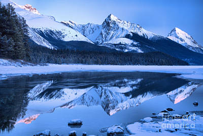 Photograph - Jasper Maligne Lake Dusk by Adam Jewell
