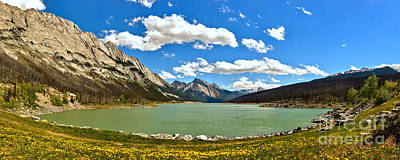 Photograph - Jasper Medicine Lake Spring Panorama by Adam Jewell