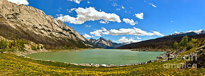 Photograph - Jasper Medicine Lake Spring Panorama Crop by Adam Jewell