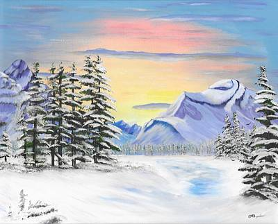 Water Painting - Jasper Mountains Winter by David Bigelow
