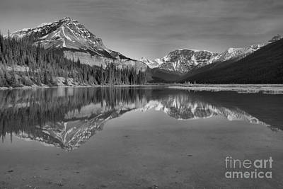 Photograph - Jasper Mt Chephren Reflections Black And White by Adam Jewell