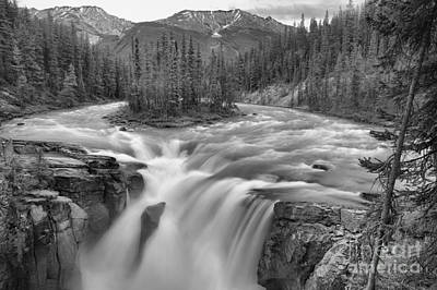 Photograph - Jasper Sunwapta Falls Black And White by Adam Jewell