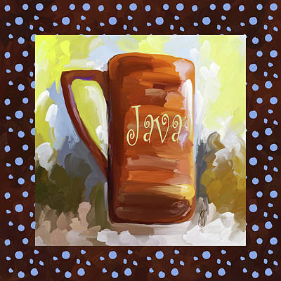Painting - Java Coffee Cup With Blue Dots by Jai Johnson