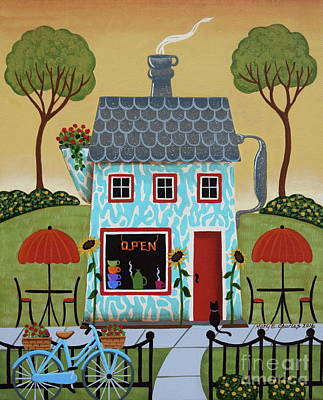 Folk Art Painting - Java House by Mary Charles