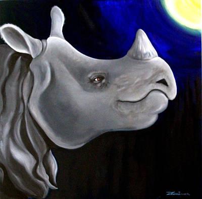 Painting - Javan Rhino by Zuzana Perner